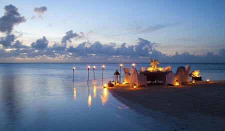 Romantic - dinner, romantic, view, romance, ocean, sunset, candles, beach, evening