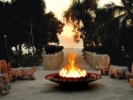 *Firepit at dusk in tropical  island*
