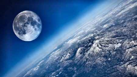 Earth and Moon 2 - scenery, photography, wide screen, moon, earth, photo, space