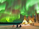 Aurora Borealis over Teepees