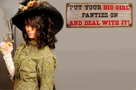 Cowgirl Message - female, models, hats, fun, women, guns, saloon, signs, cowgirls, girls, western, style