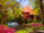 Falls Mill and azaleas, Belvidere, Tennessee