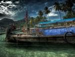 *Boat at tropical island *