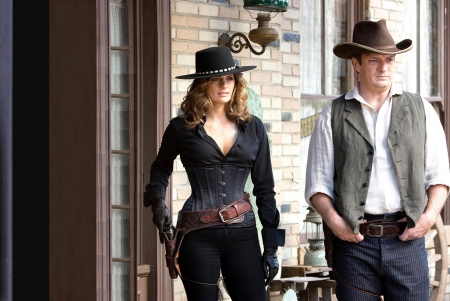 Cowgirl Kate & Castle - female, models, hats, town, fun, women, guns, cowgirls, girls, fashion, western, actors, style