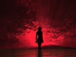 Girl in a red glow