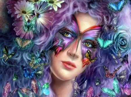 BEAUTIFUL BUTTERFLY - MASK, FEMALE, BUTTERFLIES, FACE, EYES