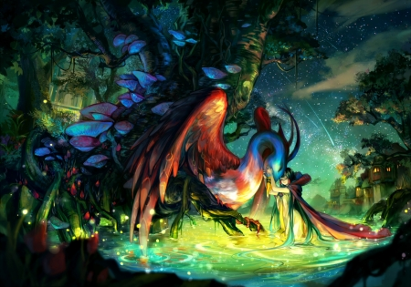 Oni - wings, luminos, manga, ayaka322, oni, fantasy, water, girl, green, bird, feather, anime, creature, blue, night