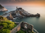 Sunset over Church of St Peter, Porto Venere, Italy