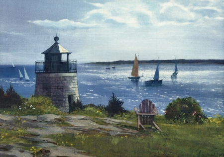 Castle Hill View 1 - art, sailing, artwork, Castle Hill, lighthouse, painting, wide screen, seascape, scenery, sailboats