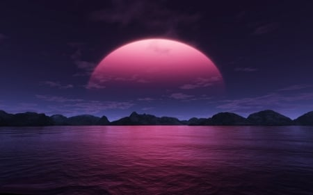 LIL PINK CLOUDS - CLOUDS, MOON, PINK, LITTLE, OCEAN, SKY, NIGHT, MOUNTAINS