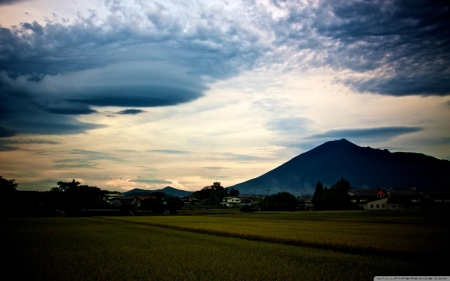 Iwate Prefecture - iwate, scenery, town, sky, field, japan, nature, japanese