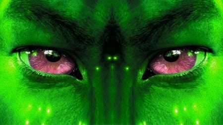 Alien eyes - movie, green, amethyst eyes, alien, skin, avatar, pink