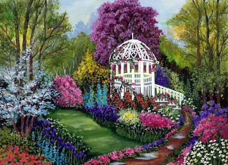 Paradise Garden - painting, flowers, path, colors, trees, gazebo, artwork