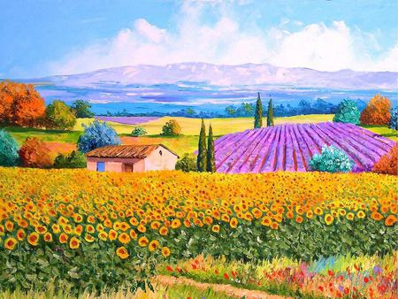 Colourful Landscape - fields, pine trees, painting, house, sunflowers, art, mountains