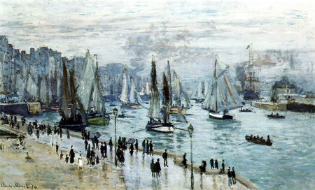 Ships leaving the port by Monet - ships, colorful, house, paris, painted, beautiful, impressionist, sea, picture, boats, boat, people, colored, painting, other, blue, museum, ocean, port, colors, sky, water, cool, ship, france, painter, monet, impressionism, landscape