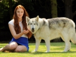 Beautiful Girl with Wolf