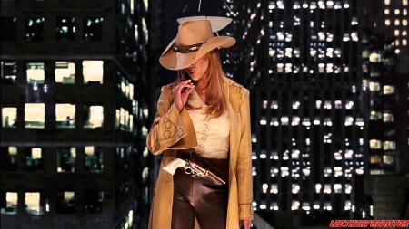Night Time Cowgirl - female, models, hats, holsters, fun, women, guns, cowgirls, girls, fashion, blondes, western, style
