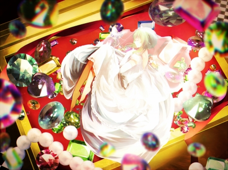 Jewels - red, dress, yellow, beautiful, woman, chest, anime, beauty, anime girl, gems, blue, art, female, lovely, jewels, colors, cute, girl, lady, white