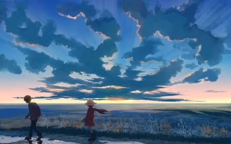 Stop the moment - Boy, moment, Anime, Sky, Girl, HD, Cloud