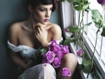 The pretty with roses