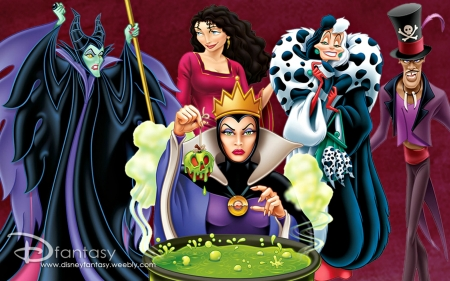Disney Villains - poster, movie, cruella, queen, woman, old, villains, stepmother, disney