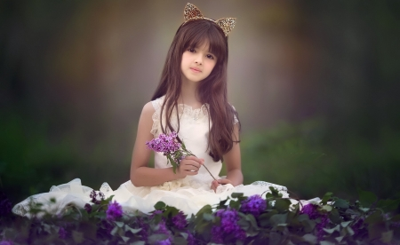A small girl and flowers - headband, flowers, A small, girl