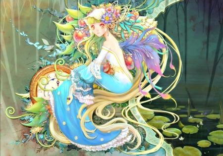 Fairy - art, wings, lily pad, manga, clock, teddy yang, girl, green, purple, anime, blue