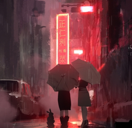 Red district - red, pretty, lovely, umbrella, beautiful, lights, girl, anime, car, neon, streets, rain, girls, night