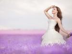 Bride on a lavender field
