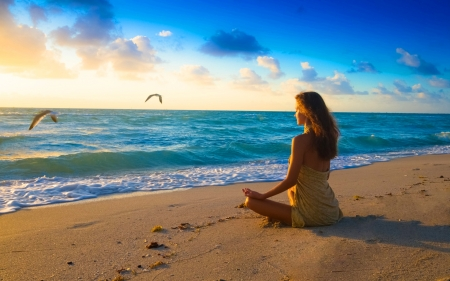 Meditation on Beach - shore, sunset, woman, clouds, yoga, seagulls, women, sea, photography, people, SkyPhoenixX1, morning, evening, girls, oliday, photo, vacation, female, holiday, ocean, relax, birds, waves, sky, girl, summer, sunshine, relaxing, unshine, coast, meditation