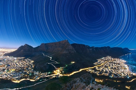 Star Trails above Table Mountain - stars, cool, space, mountains, nature, fun