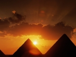 pyramids at sunset