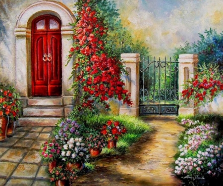 Gate to the Hidden Garden - fence, house, painting, flowers, path, artwork, door