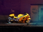 yellow hayabusa at night