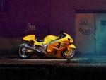 yellow hayabusa at night