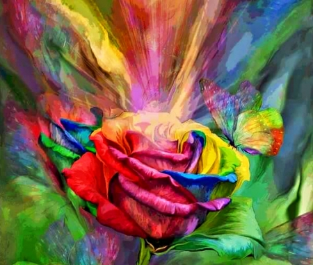 Rainbow rose fantasy abstract background wallpapers on for Rainbow rose wallpaper