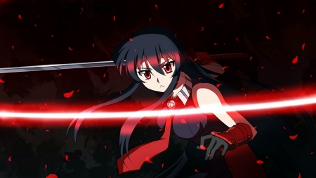 katana girl - cut, red, girl, katana