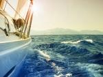 boat on sea foam