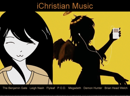 iChristian Music - christian, religious, earbuds, spiritual, Jesus, halo, positive, ipod, wings, happiness, angel, music, exercise partner, Bible, fun, joy, cool, fitness partner, entertainment, motivational