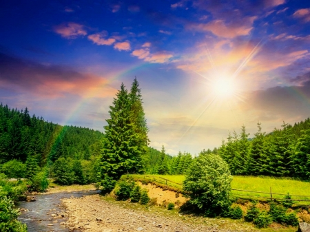 Dazzling sun and rainbow over mountain - sun, path, sunlight, sunshine, rainbow, mountain, rays, sky, beautiful, field, trees, summer, dazzling