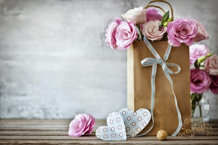 With Love ♥ - pretty, lovely, rose, bag, beautiful, bow, roses, pink rose, photography, heart, flowers, pink