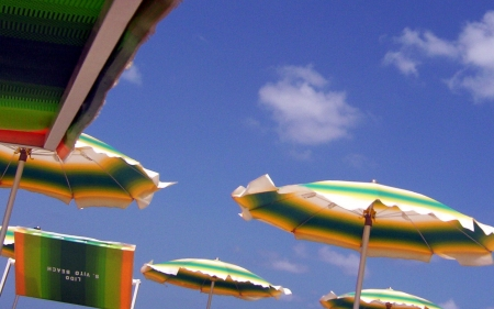Summer sky - beach umbrella, beach, sky, Summer