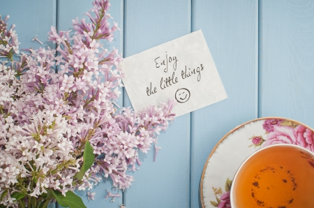 Enjoy The Little Things - lilac, table, saucer, words, sweet, still life, bouquet, cup, plate