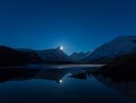Moon  Behind Mountain Reflection