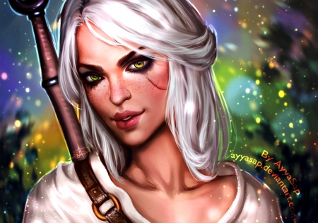 Ciri - art, game, yellow, ciri, woman, fantasy, girl, green, ayyasap, witcher 3, white