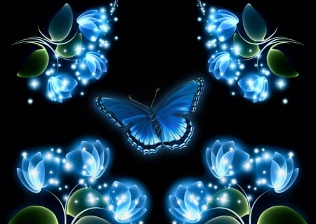 Butterfly and flowers - butterfly, luminos, flower, black, blue