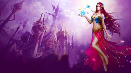 Beauty of the Castle - art, cg, elf, beautiful, woman, fairie, fantasy, girl, digital, castle, princess