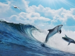 Wave and dolphins