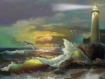 Lighthouse at Stormy Sea