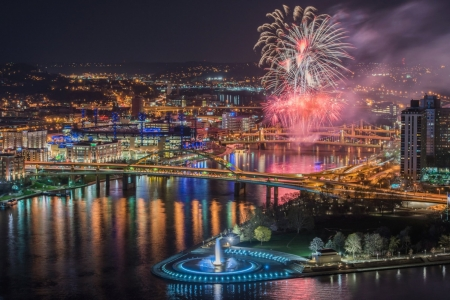 'Fireworks display in Pittsburgh Pa'..... - Pittsburgh Pa, city, fireworks, lights